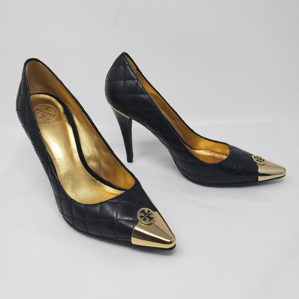 b39f282b5fe5 Tory Burch Black Gold Quilted Leather Pointed-toe Pumps. Size  US 10 Regular  (M ...
