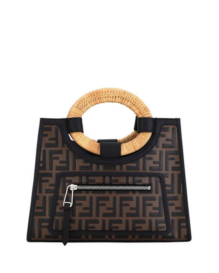 Fendi Small Runaway Shopping Brown Black Embossed Calfskin Leather ... fb3a5a64be03f