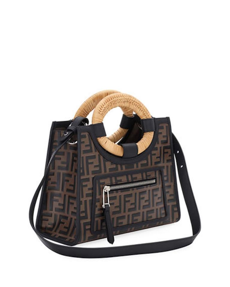 91a0656b Fendi Shopping Small Runaway Brown/Black Embossed Calfskin Leather Tote