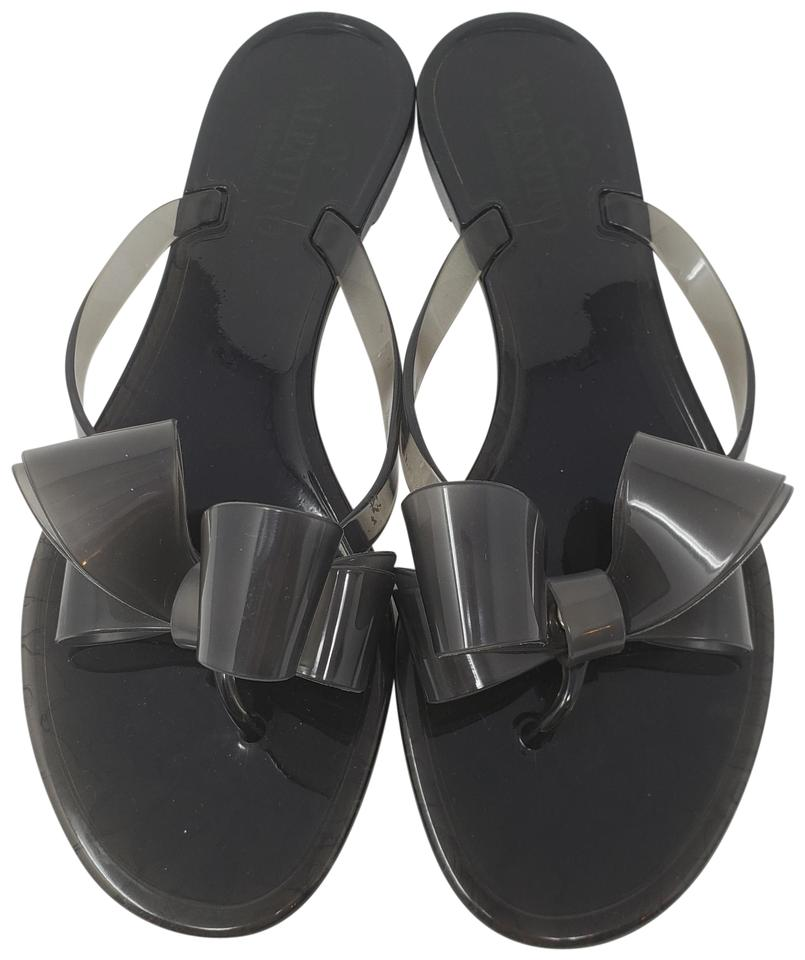 e45fe8032 Valentino Black Space Grey Jelly Bow Sandals Size EU 38 (Approx. US ...