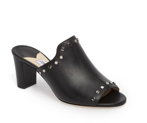 Jimmy Choo Leather Suede Studded Black/Silver Mules