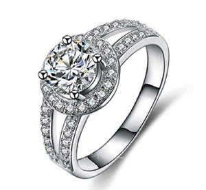 White 2 Ct Solitaire Halo Pave Cubic Zirconia Halo Engagement Ring