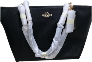 Coach Chain Leather Ava Tote in Black
