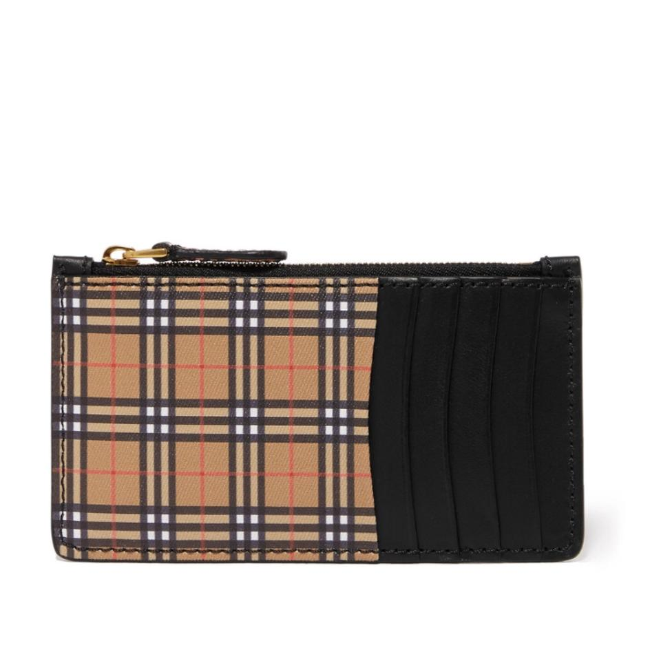 Burberry Checked Canvas Leather Card Holder Coin Case Wallet - Tradesy a40ce1866c