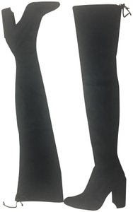 Stuart Weitzman Allegsbigg Stretchy Thigh High Suede Black Boots
