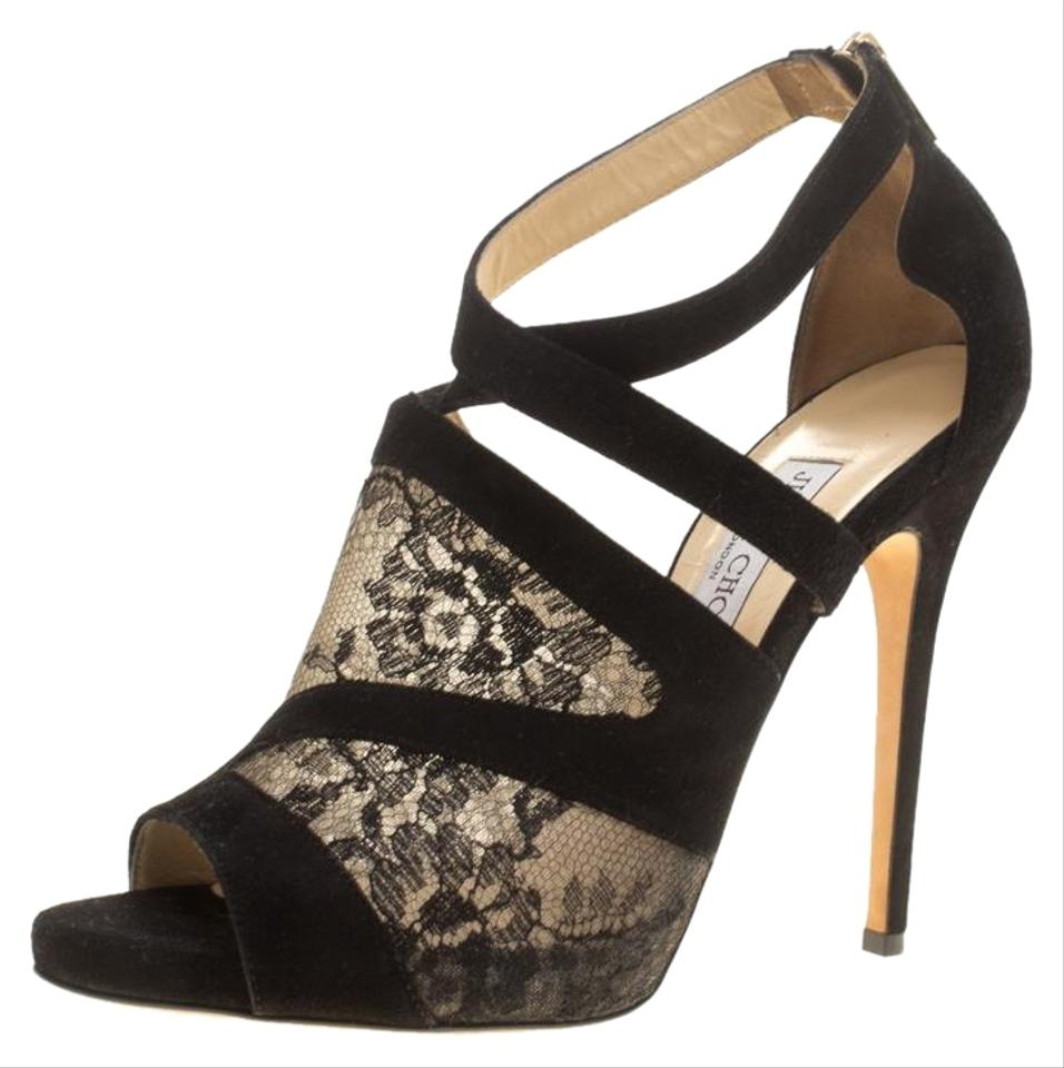 fcb885a8180 Black Lace and Suede Vantage Cross Strap Peep Sandals. JIMMY CHOO