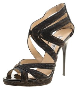 Jimmy Choo Strappy Leather Gold/Metallic Sandals