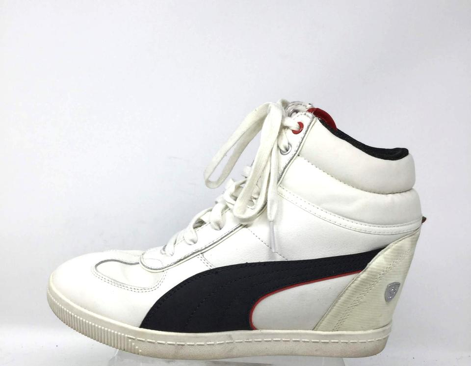 1babade6230 Puma White Women s Boots 9.5 Eur 40.5 High Top Wedge Hidden Sneakers ...