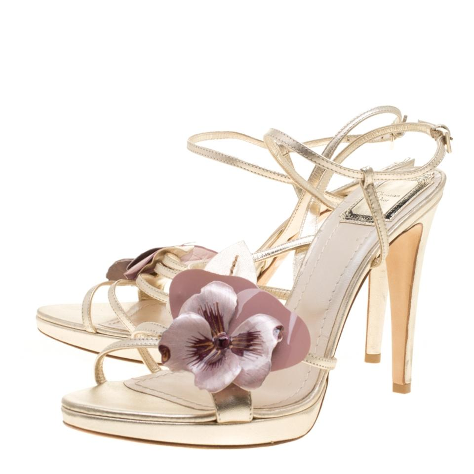 Dior Metallic Embellished Light Gold Leather Flower Embellished Metallic Sandals 0ae2aa