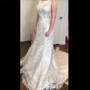 Maggie Sottero Aspen Champagne Pewter Satin 6ms818 Sexy Wedding Dress Size 6 (S)