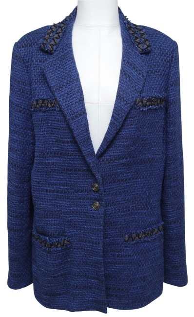 Item - Blue Jack Coat Vest Tweed Black Long Sleeve 2009 48 Blazer Size 12 (L)