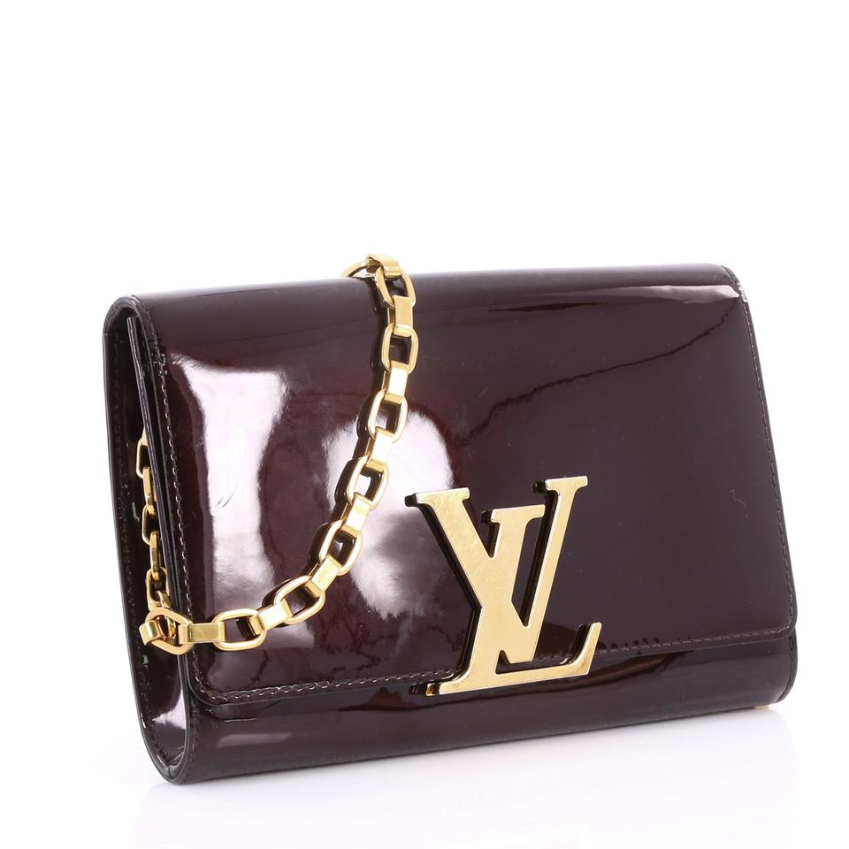 73227509bb1c Louis Vuitton Louise Chain Gm Maroon Patent Leather Clutch - Tradesy