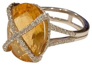 Bony Levy Bony Levy 18K White Gold Pave Diamond Citrine Cocktail Ring