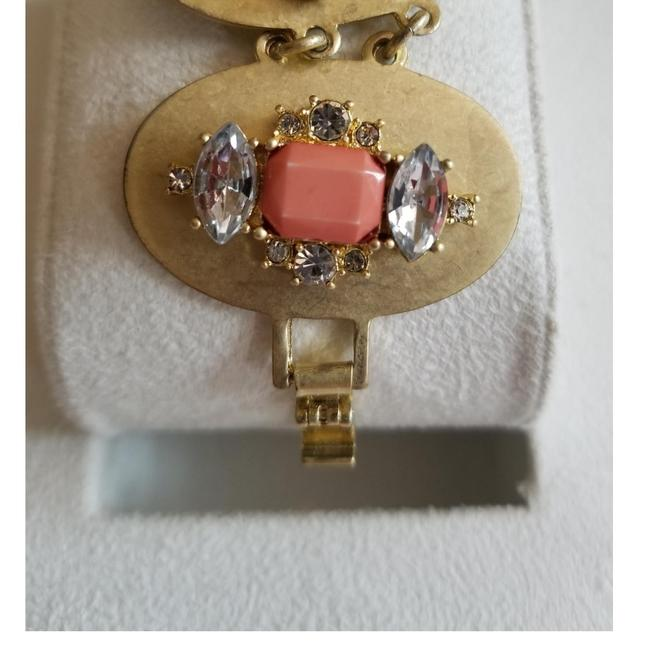Ann Taylor LOFT Peach and Gold-tone Brushed Metal Bracelet Ann Taylor LOFT Peach and Gold-tone Brushed Metal Bracelet Image 1