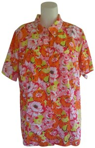 White Stag Plussize Bigshirts Womenstops Floralblouses Top Orange