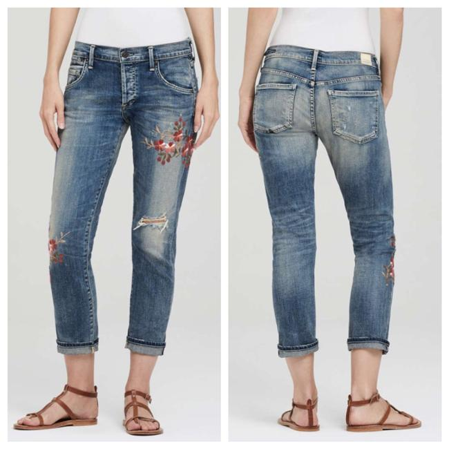Item - Blue Distressed Emerson Slim Style# 1503k-357 Floral Embroidered Boyfriend Cut Jeans Size 4 (S, 27)