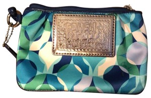 Coach Wristlet in blue and green