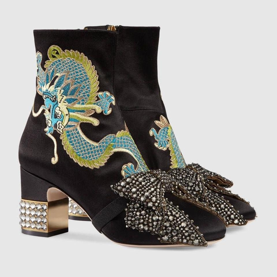 0bd85294470 Gucci Candy Embroidered Dragon Satin Ankle Boots Booties Size EU 39 ...