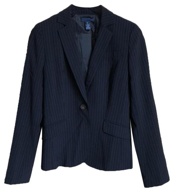 Item - Navy Blue with White Pinstripe Jacket Pant Suit Size 4 (S)