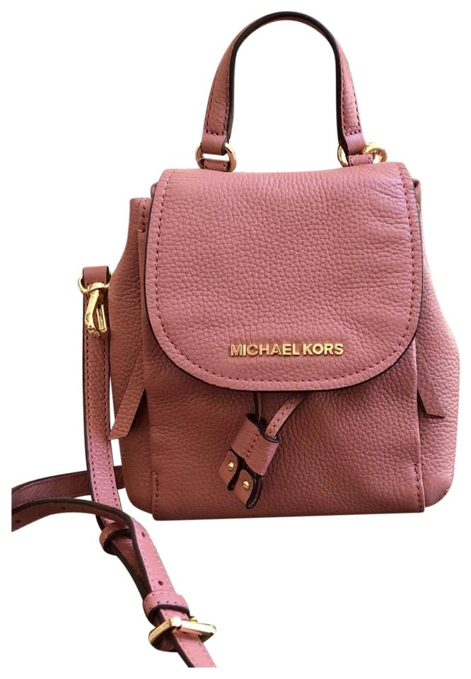 86fbf67f17e1b5 Michael Kors Riley Small Flap Pack Handbag Rose Pebbled Leather Cross Body  Bag