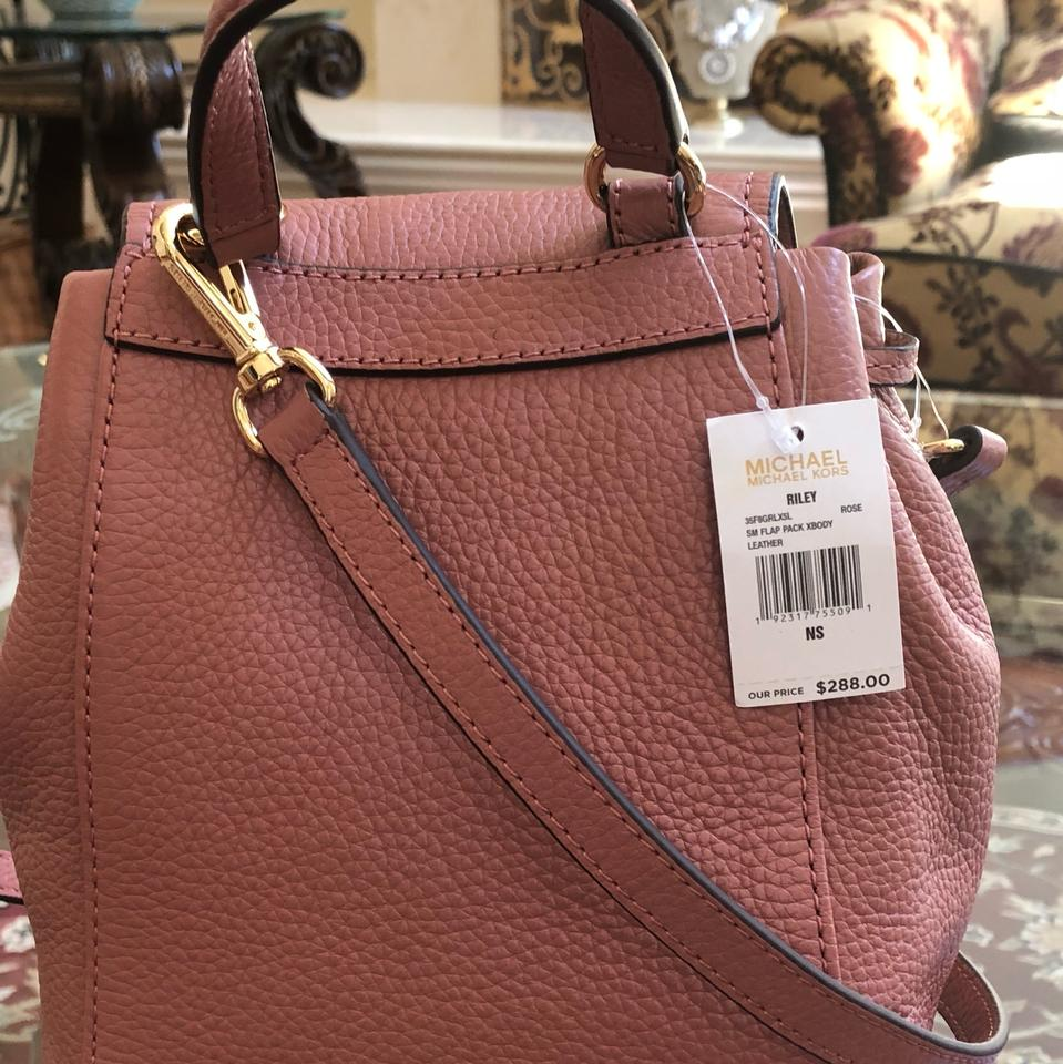 b4395678b89 Michael Kors Riley Small Flap Pack Handbag Rose Pebbled Leather ...