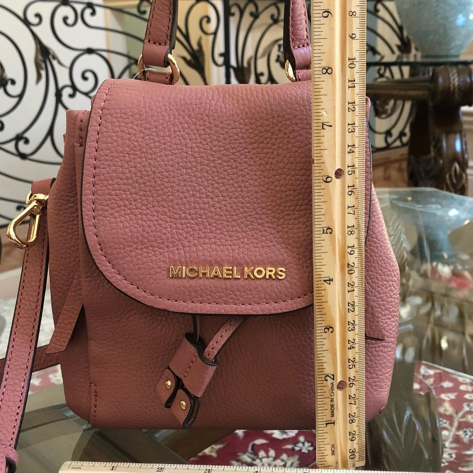 850632bb7748 Michael Kors Riley Small Flap Pack Handbag Rose Pebbled Leather Cross Body  Bag - Tradesy