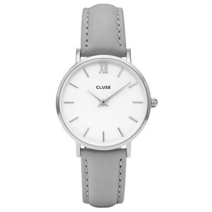 Cluse CL30006 Minuit Women's Grey Leather Band With White Analog Dial Watch