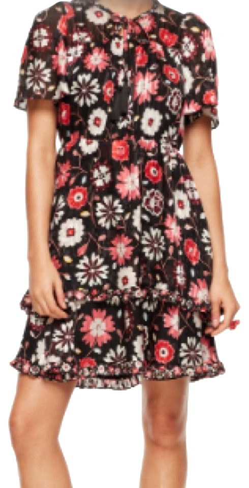 56423bae0d Kate Spade Black Casa Flora Flutter Sleeve Short Casual Dress Size 8 ...