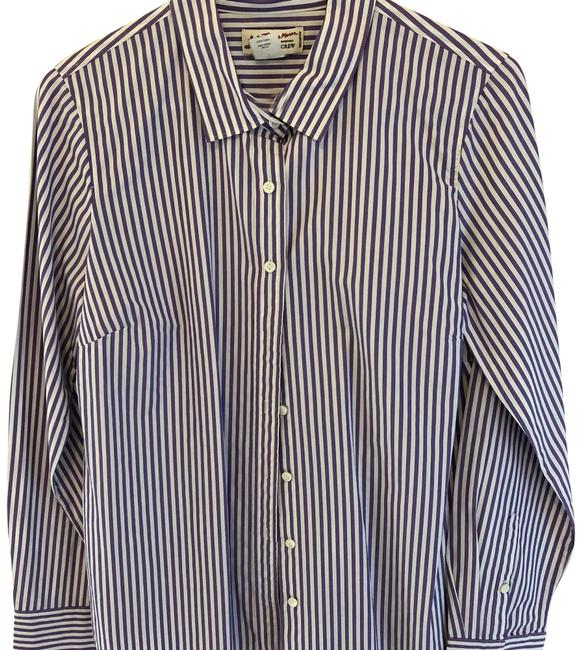 Item - Purple and White Stripes 97069 Button-down Top Size 10 (M)