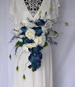 Orchids In Blue Silk Bridal Bouquet Ceremony Decoration
