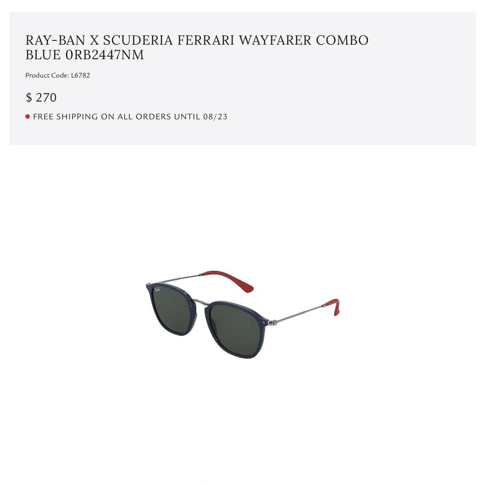068bac850aea0 Ray-Ban Black Lenses with Blue Frame and Red Ear Covers. Wayfarer ...