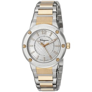 Salvatore Ferragamo Silver Rose Gold Plated Stainless Bracelet FIG040015 F-80 Swiss
