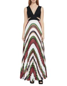 multicolor Maxi Dress by BCBGMAXAZRIA Maxi Striped Pleated Cutout Party