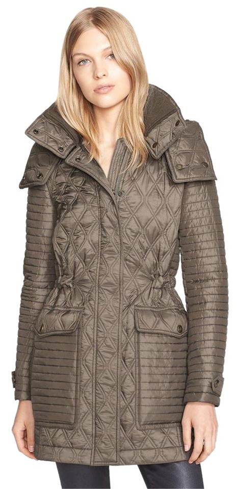Burberry Olive Green Brit Bosdale Quilted Jacket Coat Size 4 S