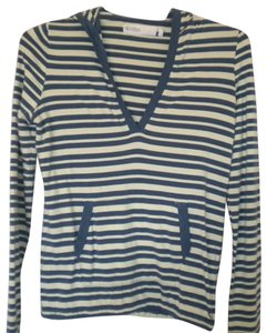 Carve Designs Striped Long Sleeve V-neck Hooded T Shirt Multi-Color