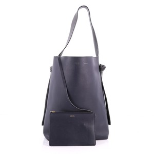 Céline Leather Tote in dark green and navy