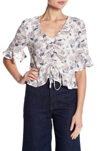 Elodie Cinched Feminine Ruffle Floral Top Blush