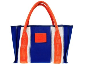 Chanel Beach Logomania Mesh Rare Tote in Blue and Orange Red