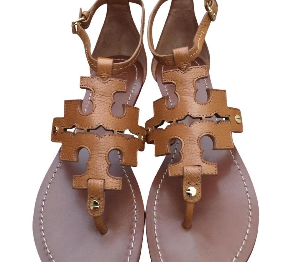 a13dc08bc Tory Burch Brown Elba Tumbled Leather Flat Sandals Size US 8 Regular ...