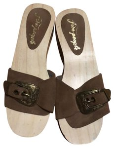 Free People dark brown suede with brass hardware buckle and light wood Mules