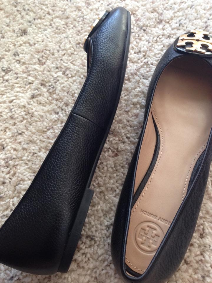 553cf88e377 Tory Burch Black Claire Ballet Tumbled Leather Flats Size US 10.5 ...