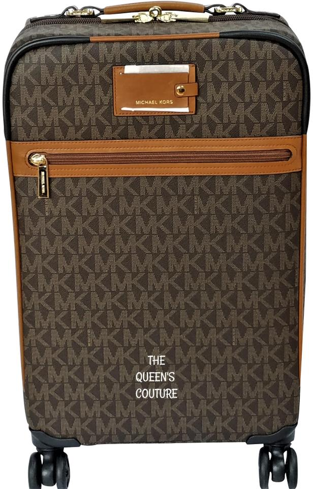 98a8418df Michael Kors Trolley Rolling Carry-on Suitcase Jet Set Trolley Brown Travel  Bag Image 0 ...