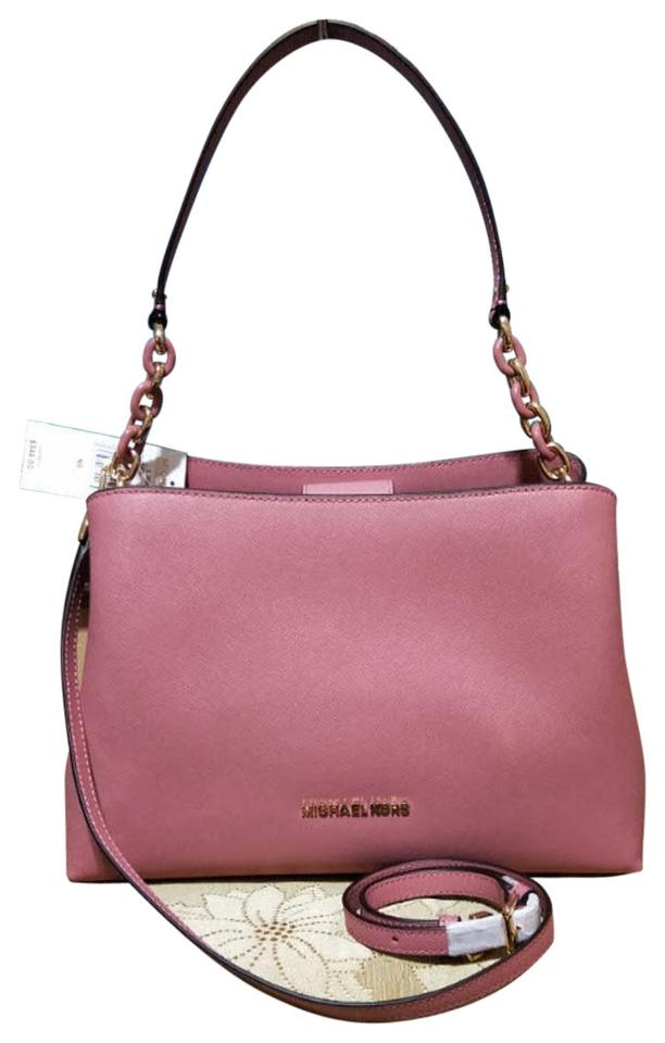 eb3d92c46246b1 Michael Kors Sofia Large Saffiano Portia Rose Pink Leather Satchel ...