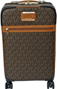 Michael Kors Trolley Rolling Carry-on Suitcase Jet Set Trolley Brown Travel Bag