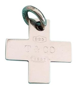 Tiffany & Co. Tiffany& Co. Silver 1837 Cross Pendant Charm with Oval Jump Ring