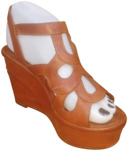 Fiorentini + Baker Leather Strappy Platform Tan Wedges
