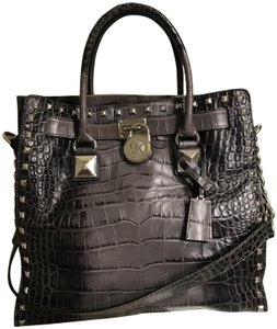 54ff21f9d0a0 Michael Kors Studs Croco Alligator Large Tote in Grey Ombre Crocodile