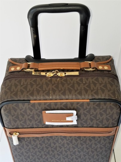 Michael Kors Trolley Carry-on Suitcase Jet Set Trolley Luggage Brown Travel Bag Image 4