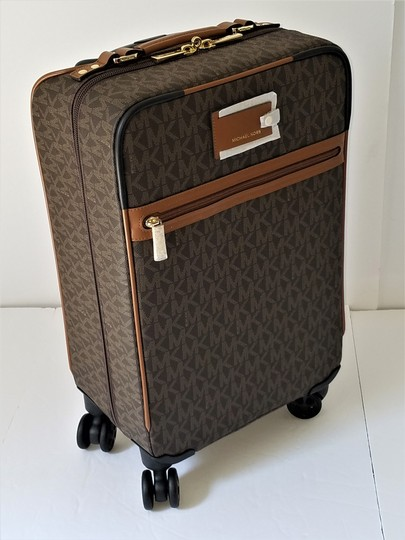 Michael Kors Trolley Carry-on Suitcase Jet Set Trolley Luggage Brown Travel Bag Image 1
