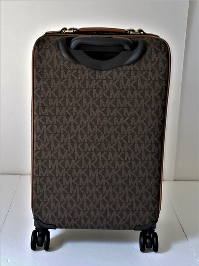 Michael Kors Trolley Carry-on Suitcase Jet Set Trolley Luggage Brown Travel Bag Image 2
